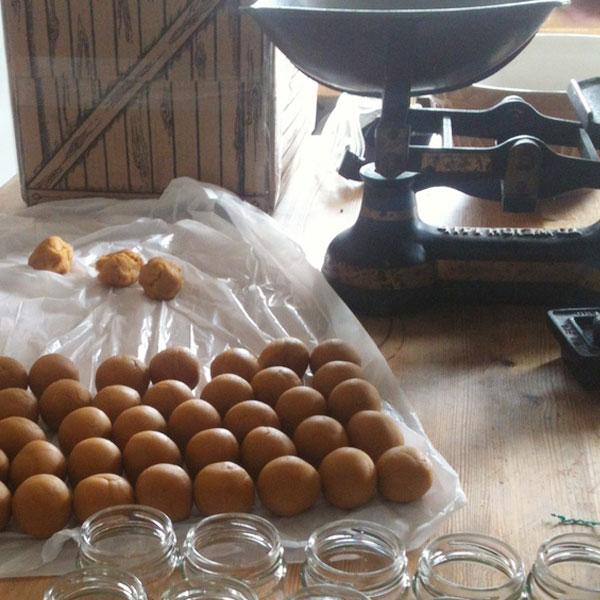 Hand Making Mustard Balls